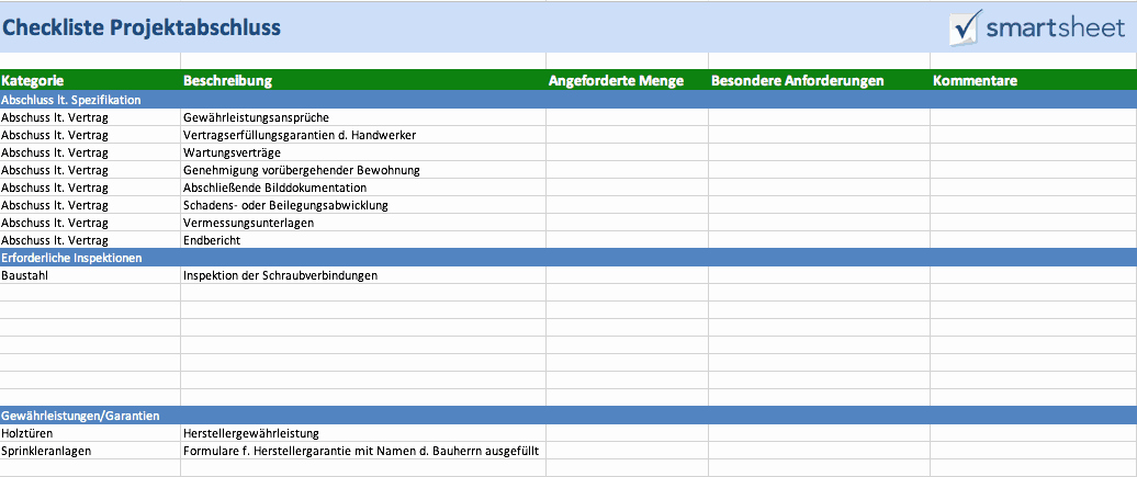 Project Closeout Checklist Template Best Of Kostenlose Excel Vorlagen Für Bauprojektmanagement