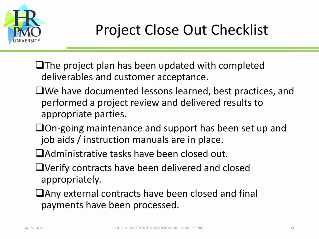 Project Closeout Checklist Template Elegant 2017 Granite State Human Resource Conference Ppt