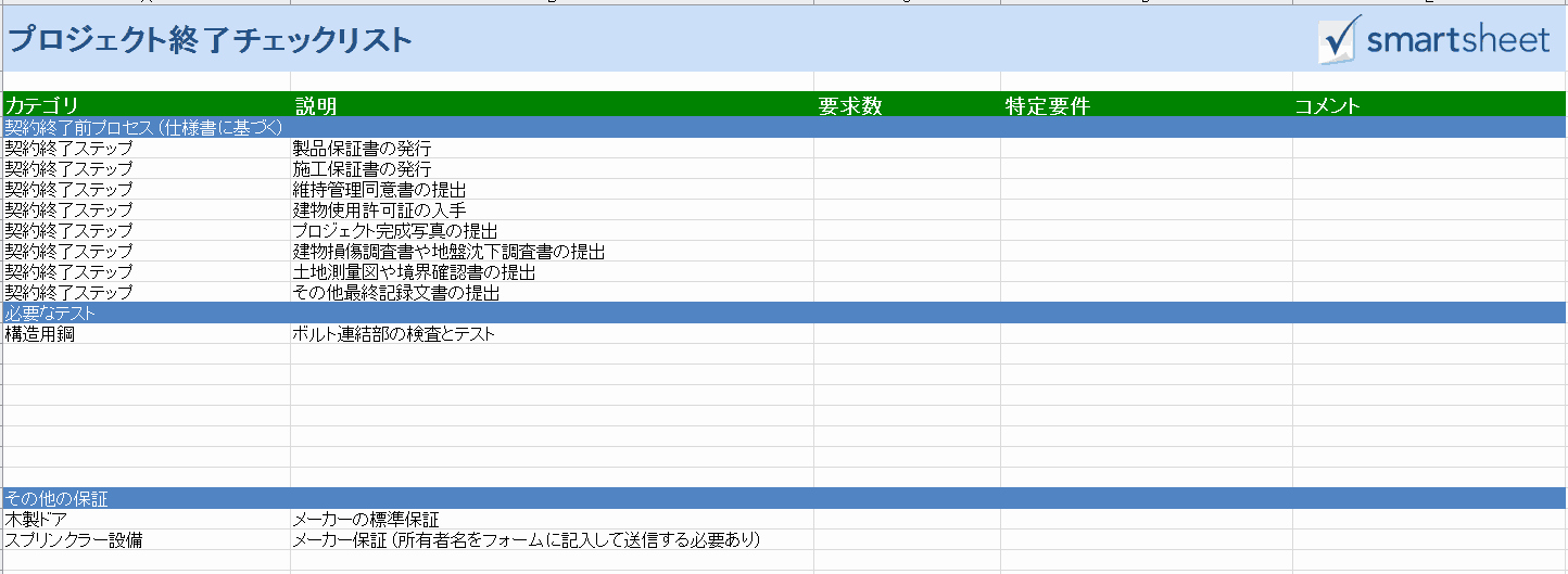 Project Closeout Checklist Template Elegant 建設プロジェクト管理用の無料excelテンプレート