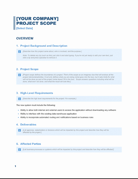 Project Scope Template Word Beautiful Project Scope Report Business Blue Design