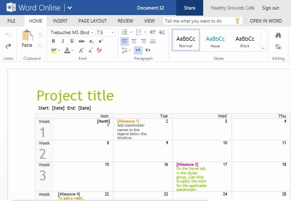 Project Timeline Template Word Awesome Project Planning Timeline Calendar for Word Line