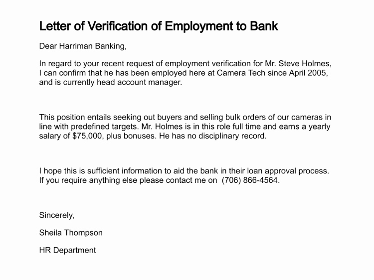 Proof Of Employment Letter Template Awesome Confirmation Employment Letter for Bank