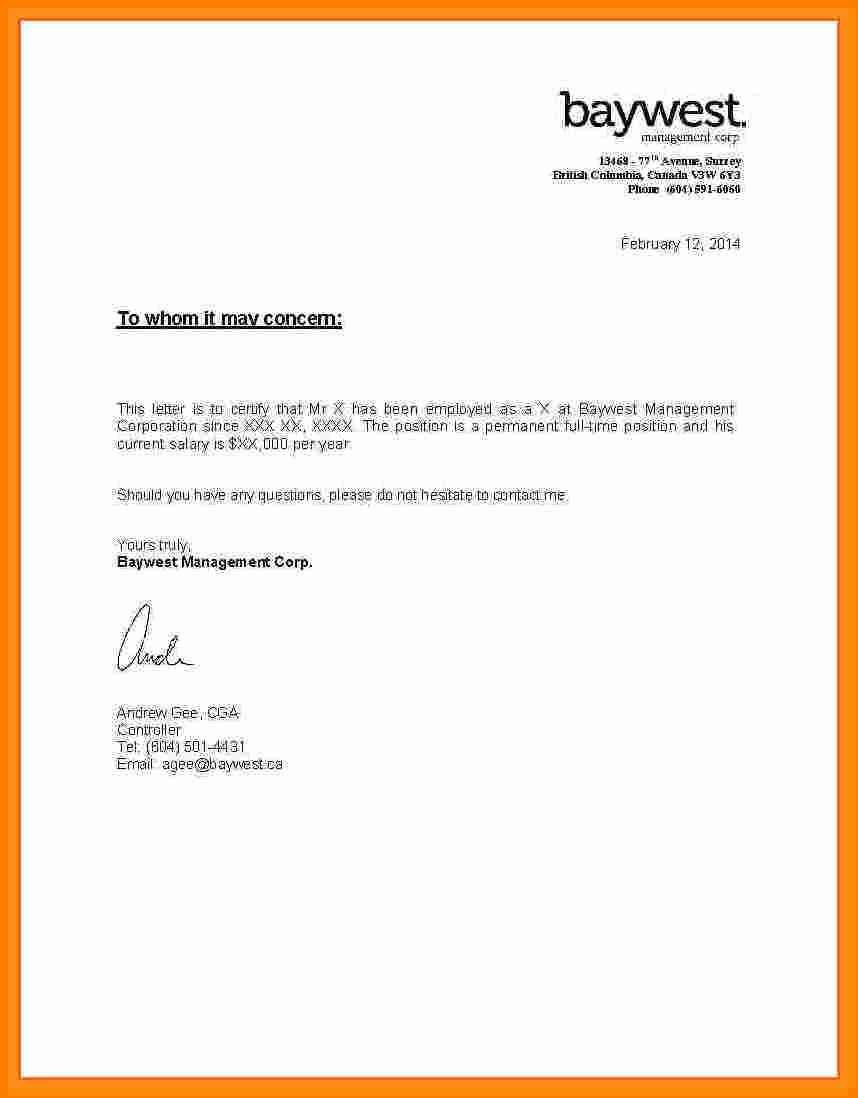 Proof Of Employment Letter Template Beautiful 8 Salary Letter From Employer Sample
