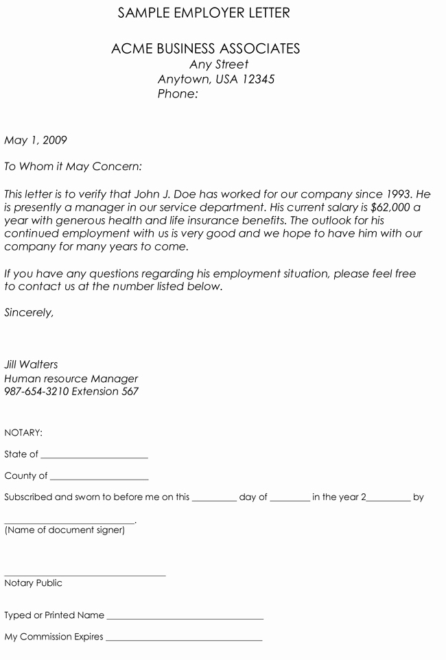Proof Of Employment Letter Template Best Of Employment Verification Letter 8 Samples to Choose From