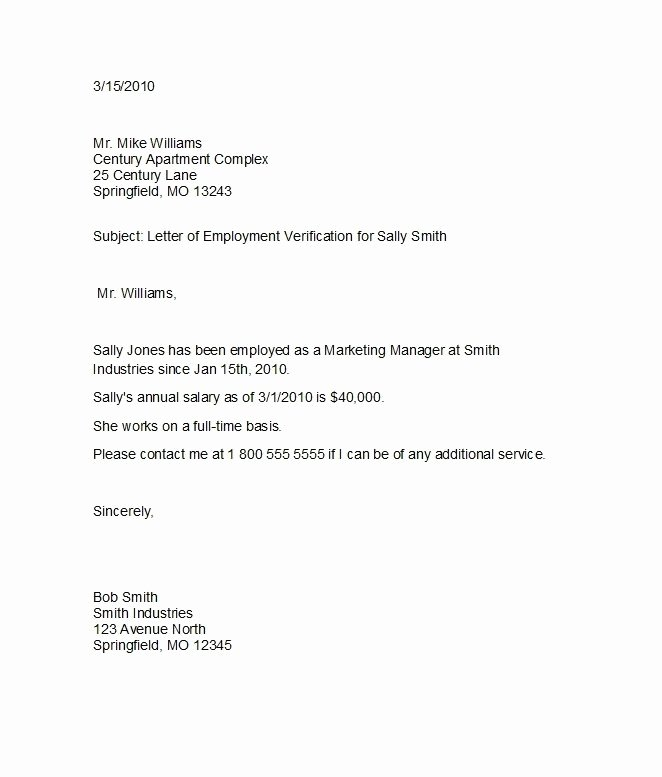 Proof Of Employment Letter Template Best Of Employment Verification Letter