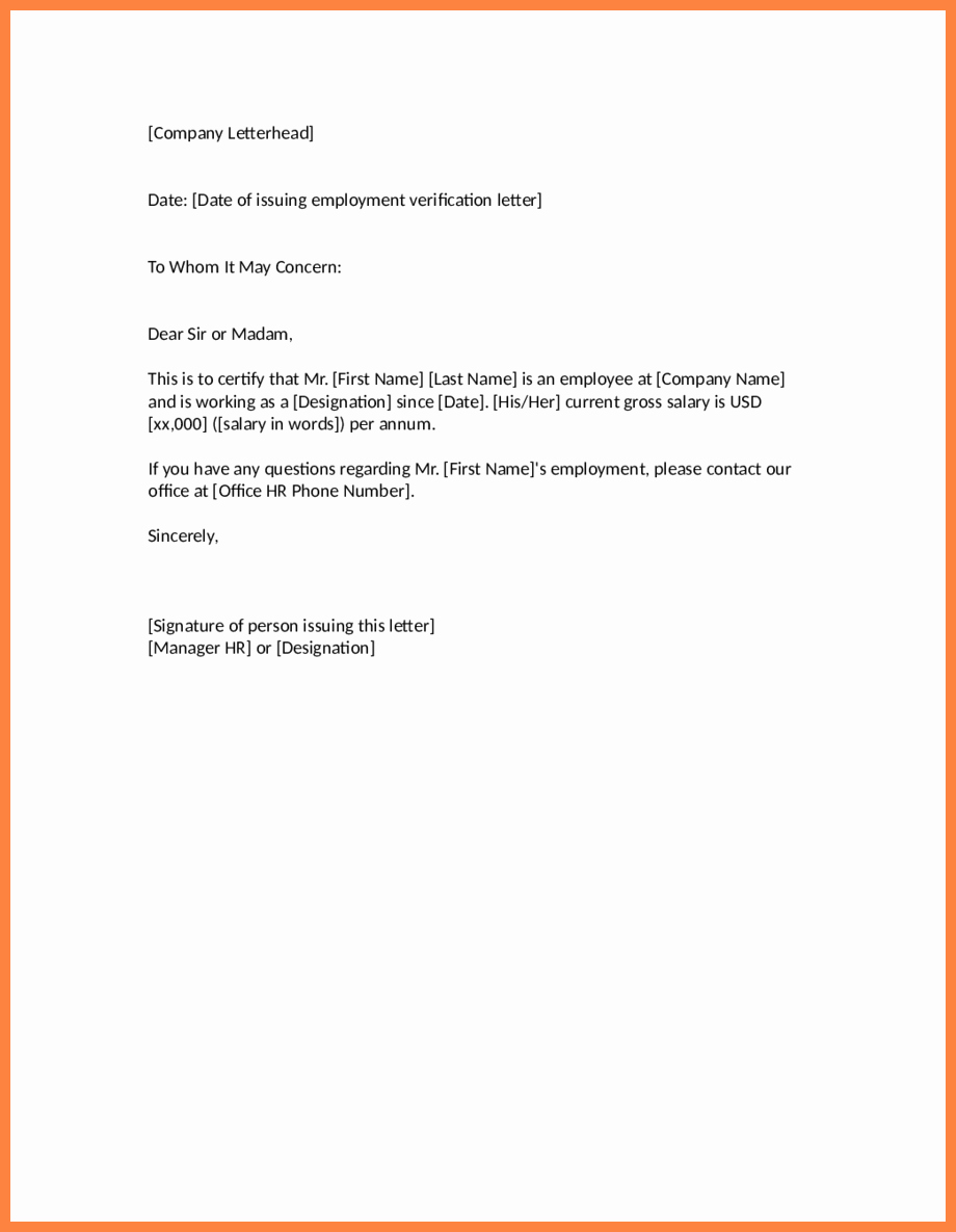 Proof Of Employment Letter Template Fresh 3 Salary Verification Letter Sample