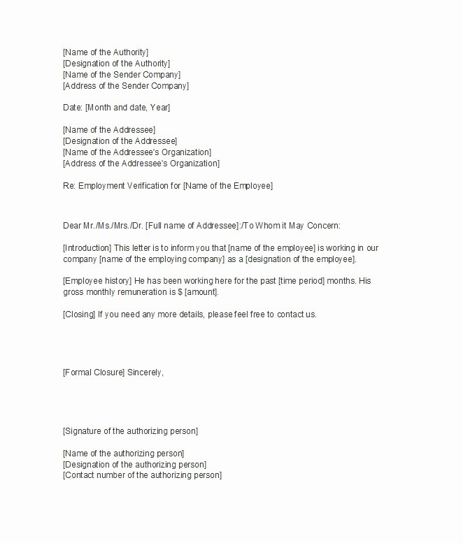 Proof Of Employment Letter Template Fresh 40 Proof Of Employment Letters Verification forms