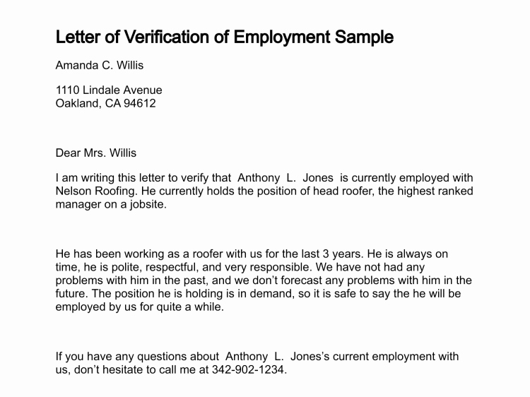 Proof Of Employment Letter Template Fresh Employment Verification Letter Sample