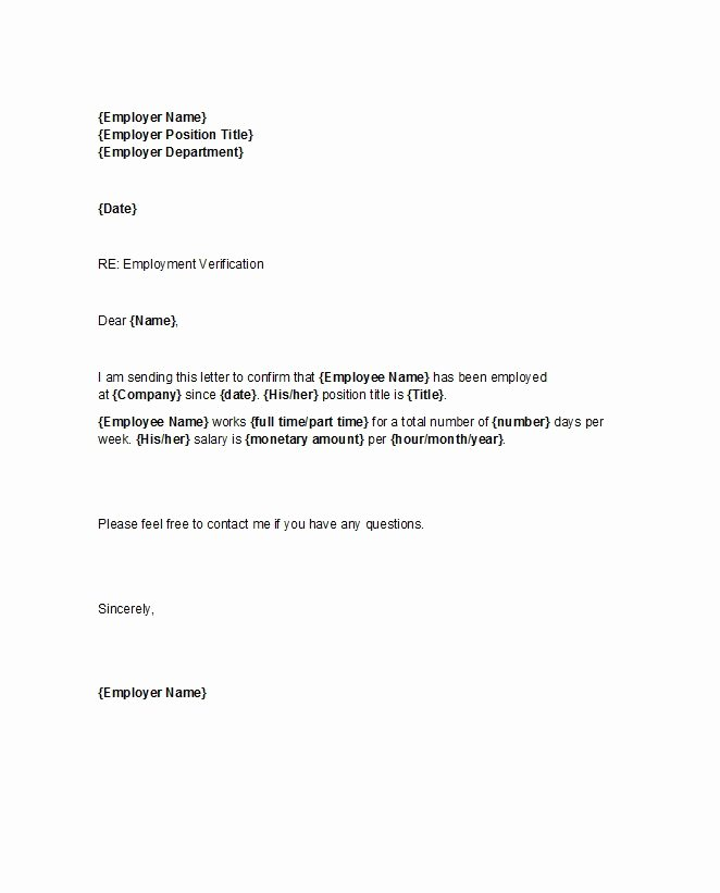 Proof Of Employment Letter Template Inspirational 40 Proof Of Employment Letters Verification forms & Samples