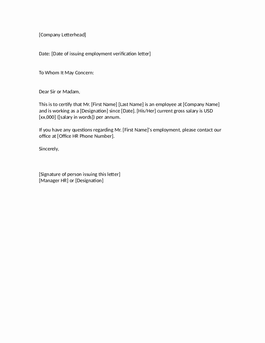 Proof Of Employment Letter Template Lovely Employee Verification Letter