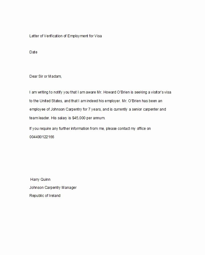 Proof Of Employment Letter Template Luxury 40 Proof Of Employment Letters Verification forms