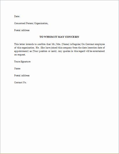 Proof Of Employment Letter Template Unique Proof Of Employment Letter Template