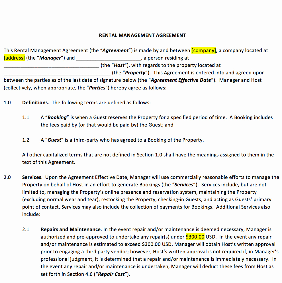Property Management Contract Template Awesome Vacation Rental Property Management Contract Template