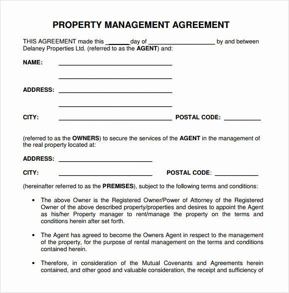 Property Management Contract Template Beautiful Free 10 Sample Property Management Agreement Templates In