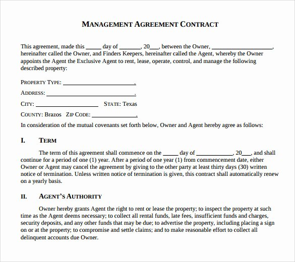 Property Management Contract Template Beautiful Sample Management Agreement 16 Free Documents In Pdf Word