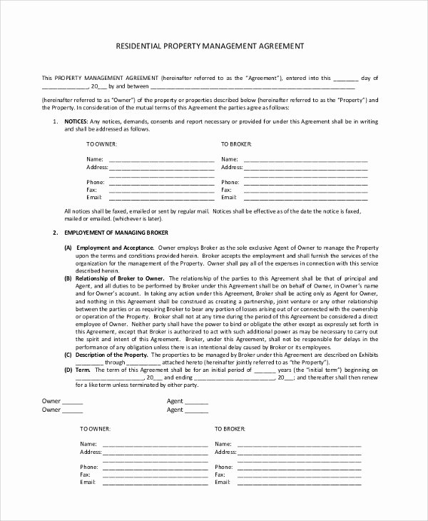 Property Management Contract Template Beautiful Sample Property Management Agreement 9 Documents In Pdf