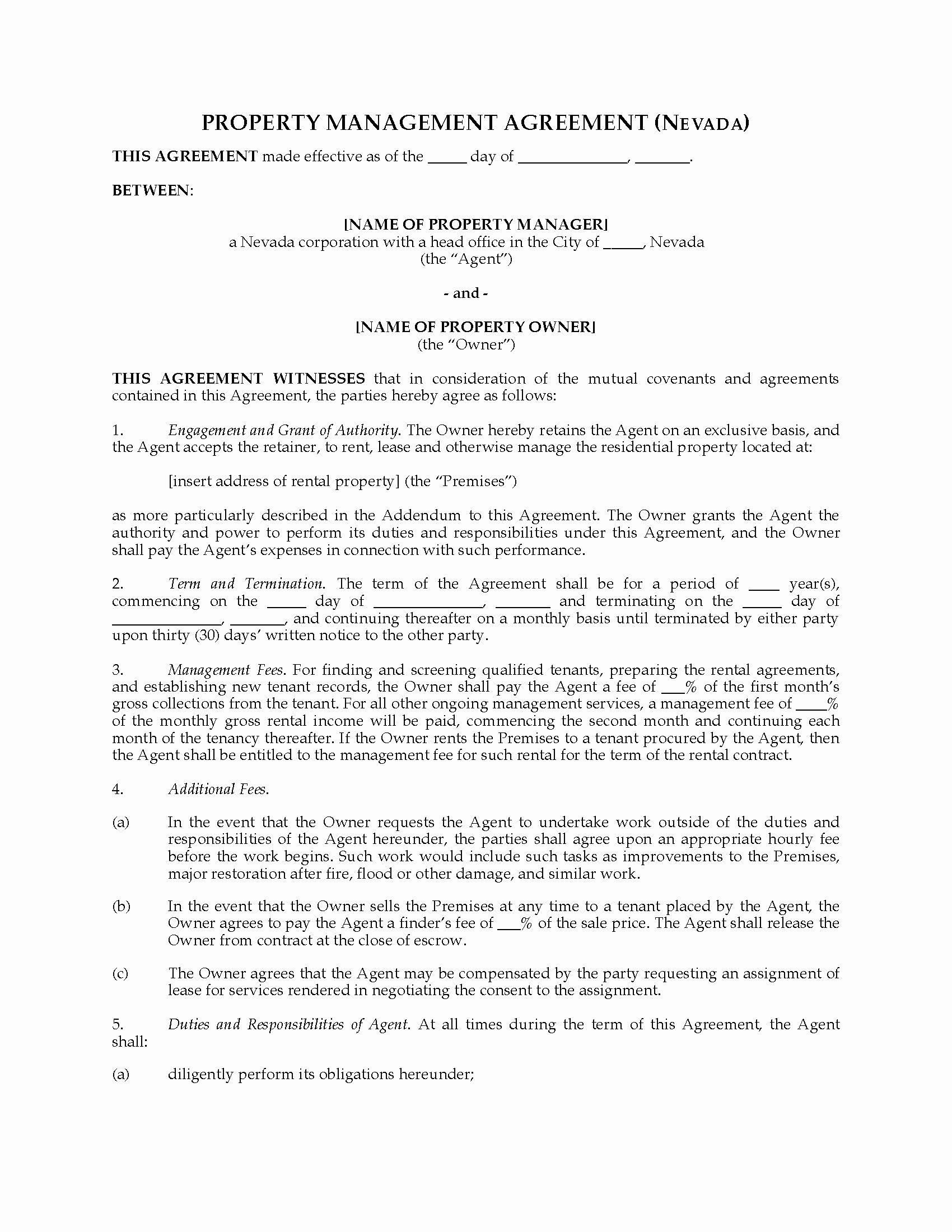Property Management Contract Template Elegant Nevada Rental Property Management Agreement