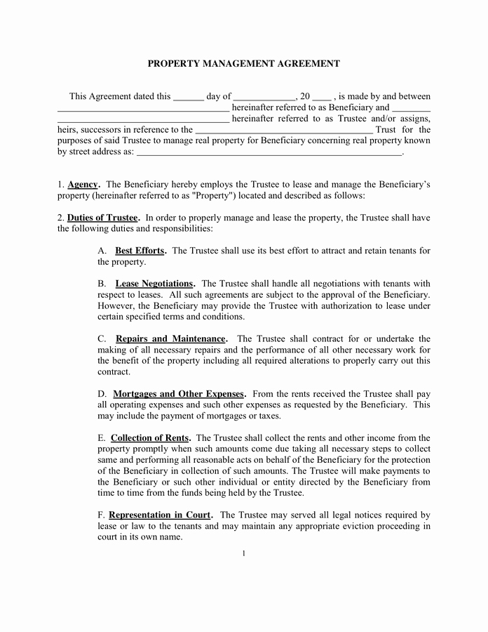 Property Management Contract Template Elegant Property Management Agreement Sample In Word and Pdf formats