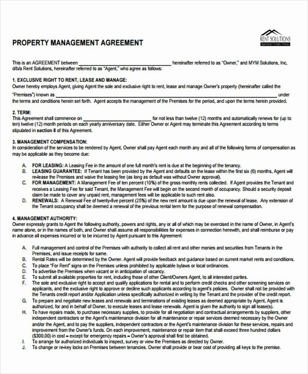 Property Management Contract Template Fresh 15 Management Agreement Templates Free Pdf Word format