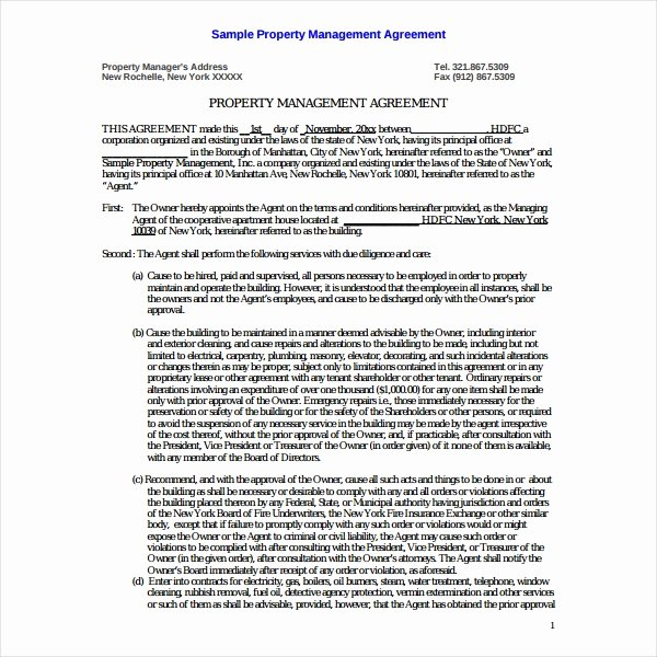 Property Management Contract Template Fresh 9 Property Management Agreement Templates Pdf Word