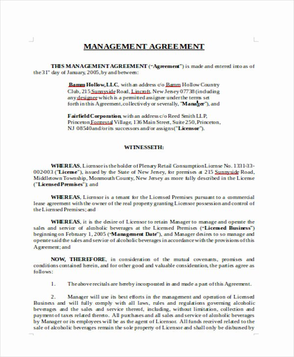 Property Management Contract Template Inspirational 16 Management Agreement Templates Word Pdf