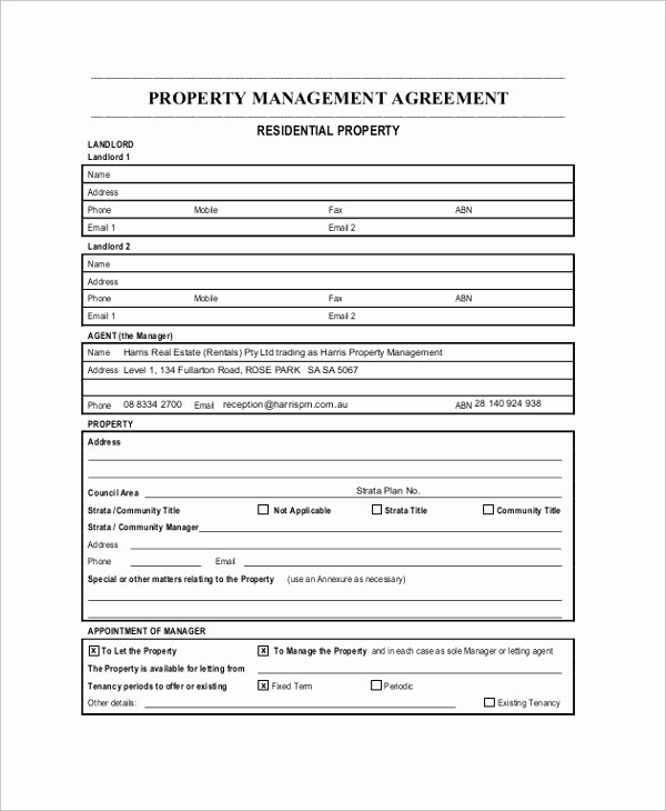 Property Management Contract Template Lovely Sample Property Management Agreement 9 Documents In Pdf