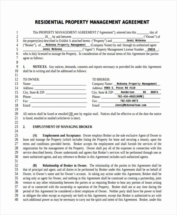 Property Management Contract Template New Free 64 Management Agreement Examples & Samples In Pdf