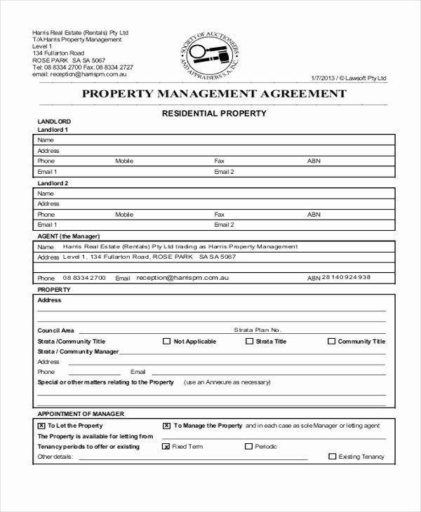 mercial property management agreement