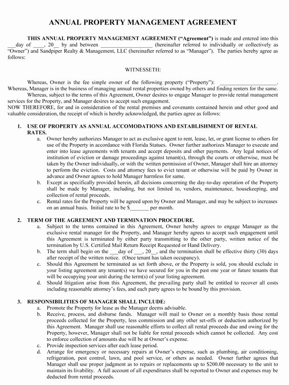 Property Management Contract Template Unique Sample Management Agreement