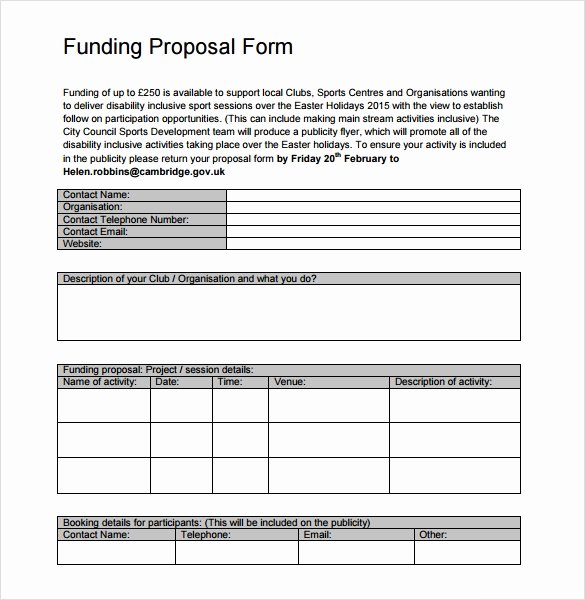 Proposal for Funding Template Beautiful Sample Funding Proposal Template 8 Free Documents In