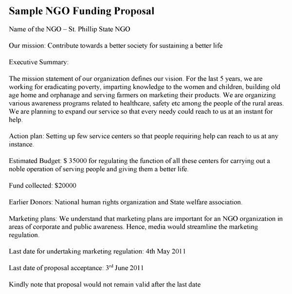 Proposal for Funding Template Fresh Ngo Funding Proposal Template