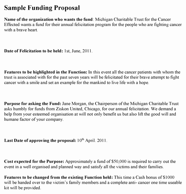 Proposal for Funding Template Lovely Funding Proposal Template