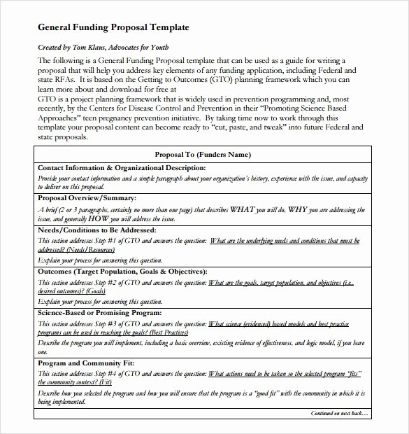 Proposal for Funding Template Lovely Sample Funding Proposal Template 8 Free Documents In