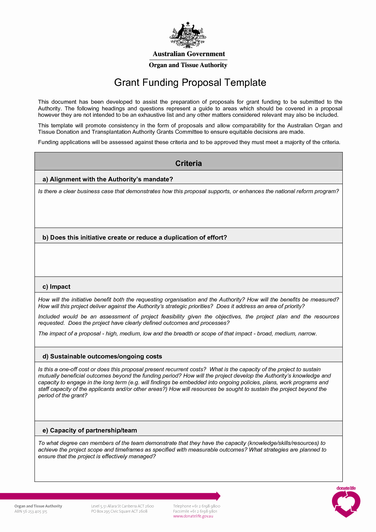 Proposal for Funding Template Unique Grant Proposal Template