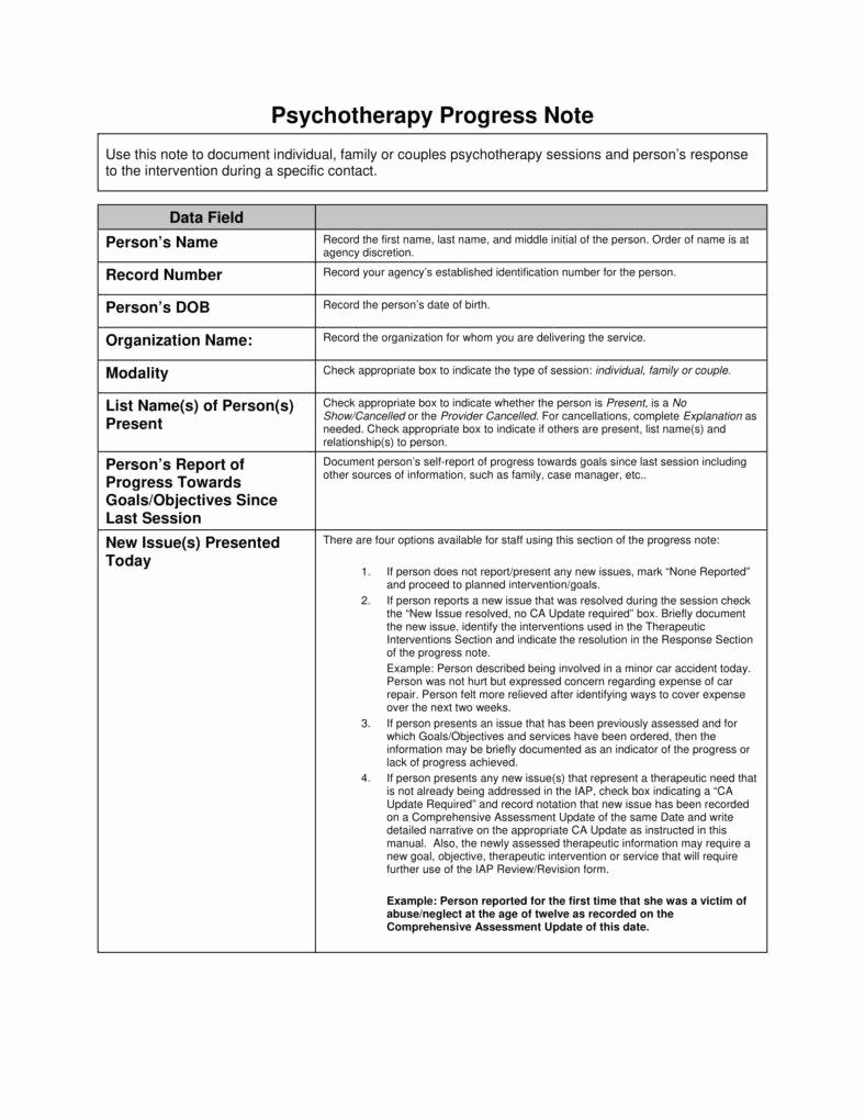 Psychotherapy Progress Note Template Pdf Elegant 8 Psychotherapy Note Templates for Good Record Keeping