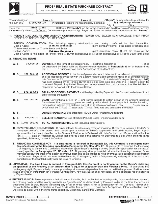 Purchase Agreement Template for House Elegant Real Estate Purchase Contract Rds Rev 05 11