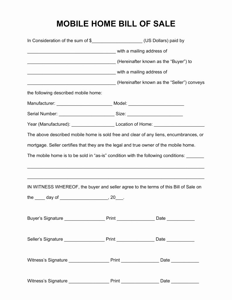 Purchase Agreement Template for House Lovely Mobile Home Purchase Agreement