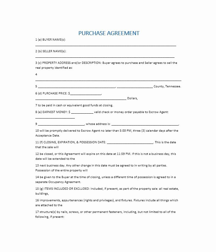 Purchase Agreement Template for House New 37 Simple Purchase Agreement Templates [real Estate Business]