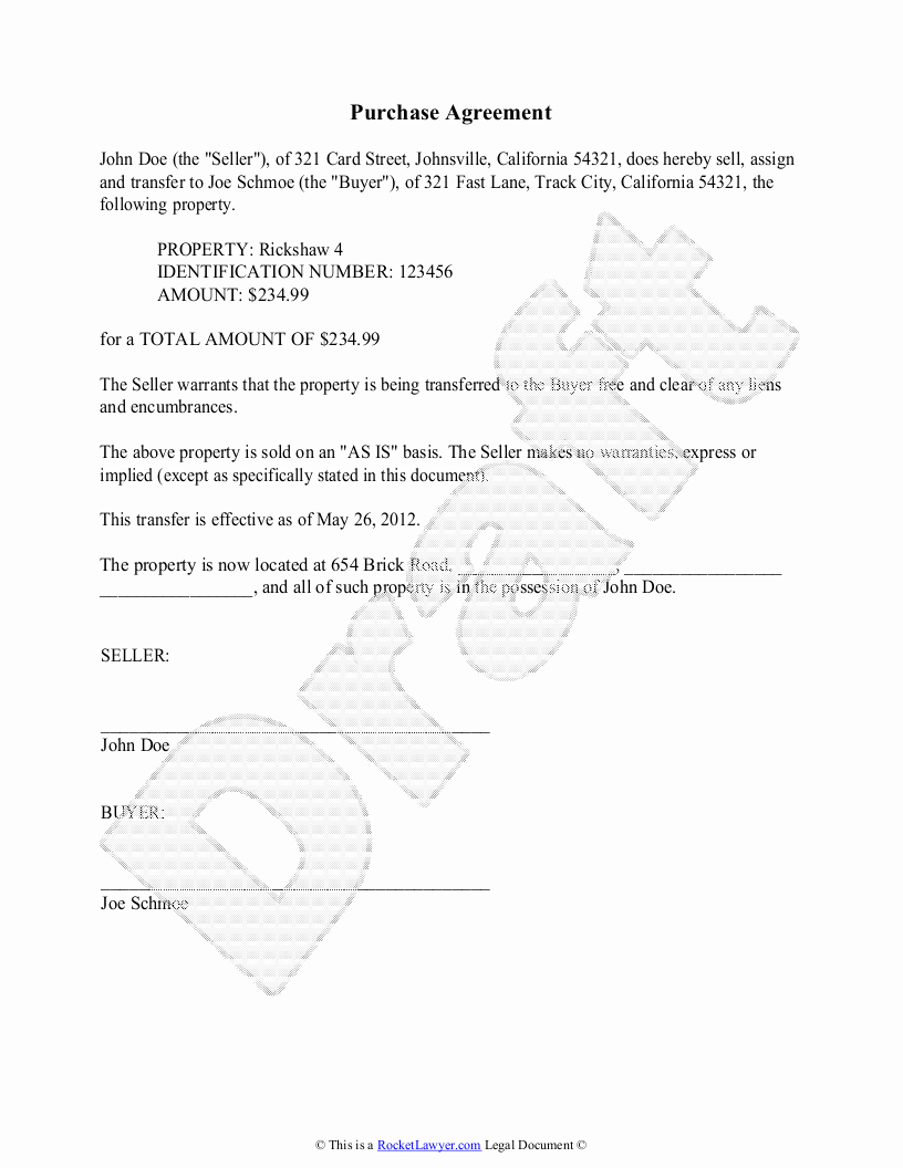 Purchase Agreement Template for House New Purchase Agreement Template Free Purchase Agreement