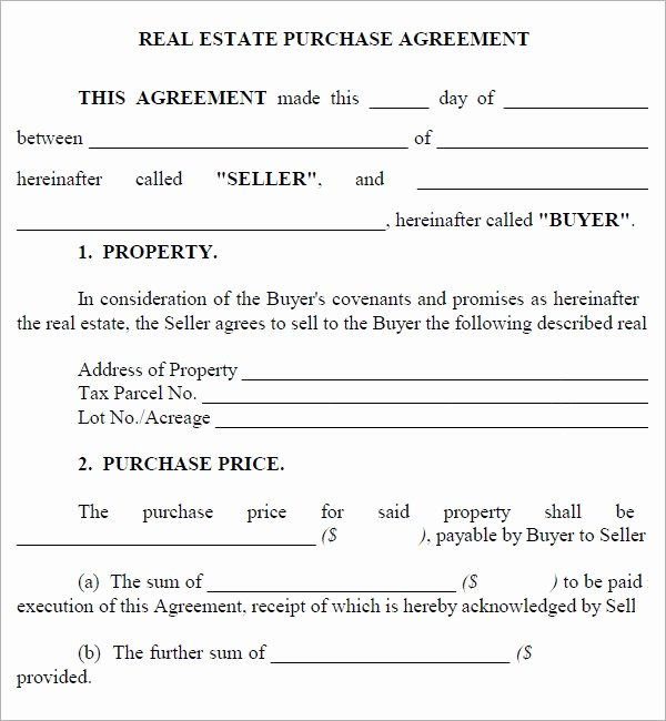 Purchase Agreement Template for House New Real Estate Purchase Agreement 7 Free Pdf Download
