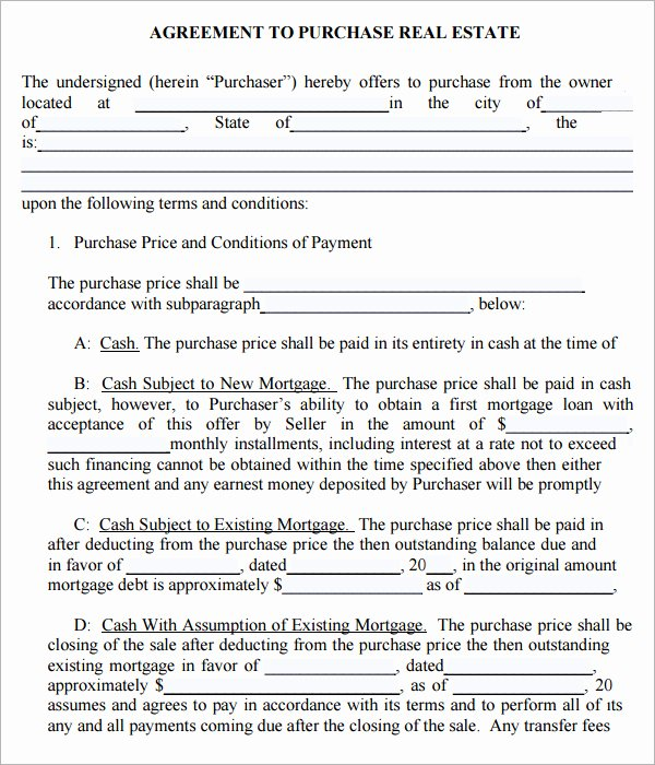 Purchase Agreement Template for House Unique Free Real Estate Purchase Agreement Template Free