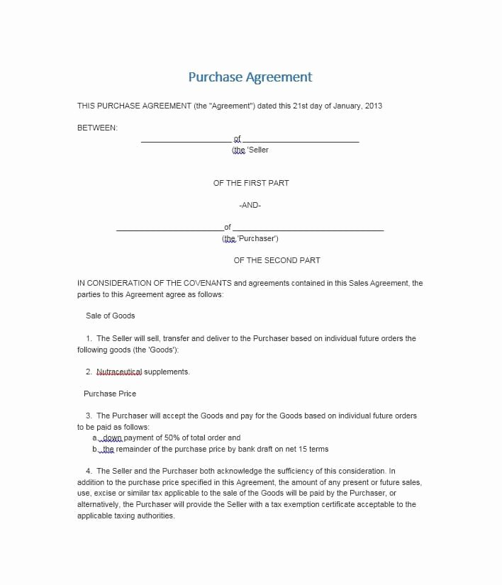Purchase Agreement Template Free Beautiful 37 Simple Purchase Agreement Templates [real Estate Business]