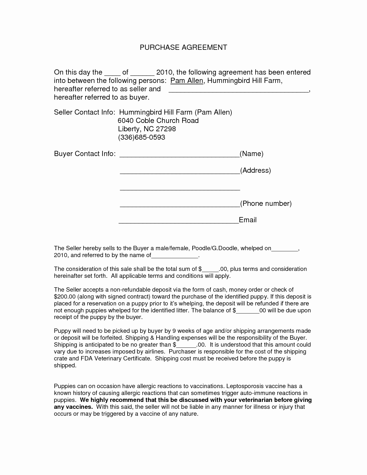 Purchase Agreement Template Free Inspirational Purchase Agreement Template Free Printable Documents