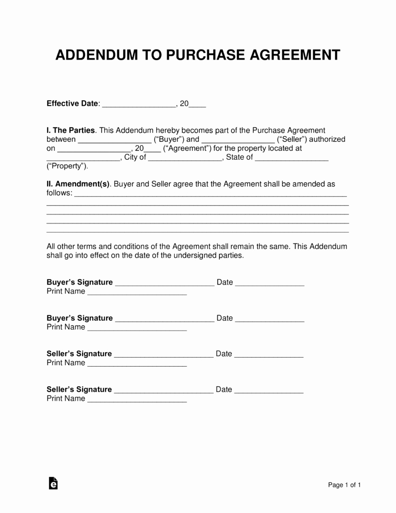Purchase Agreement Template Free New Free Purchase Agreement Addendums & Disclosures Word