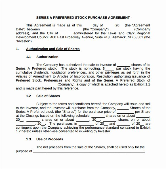Purchase Agreement Template Free New Stock Purchase Agreement 8 Download Documents In Pdf Word