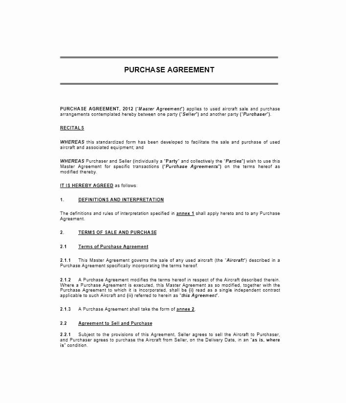Purchase Agreement Template Free Unique 37 Simple Purchase Agreement Templates [real Estate Business]