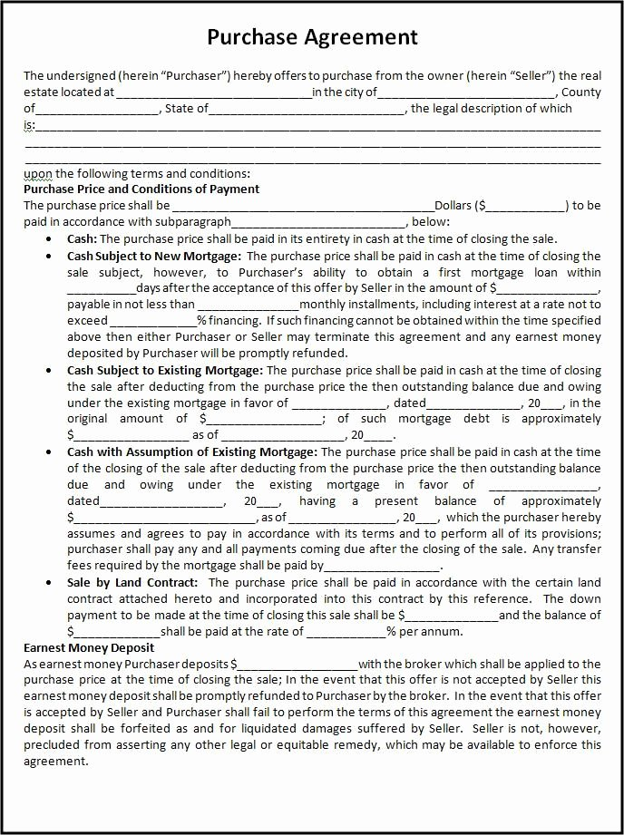 Purchase Agreement Template Word Awesome Free Purchase Agreement Template