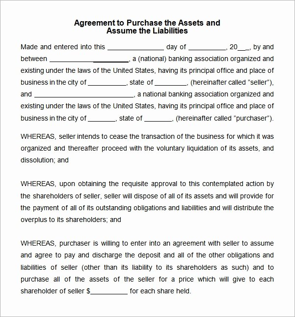 Purchase Agreement Template Word Best Of Free 10 Sample asset Purchase Agreement Templates In