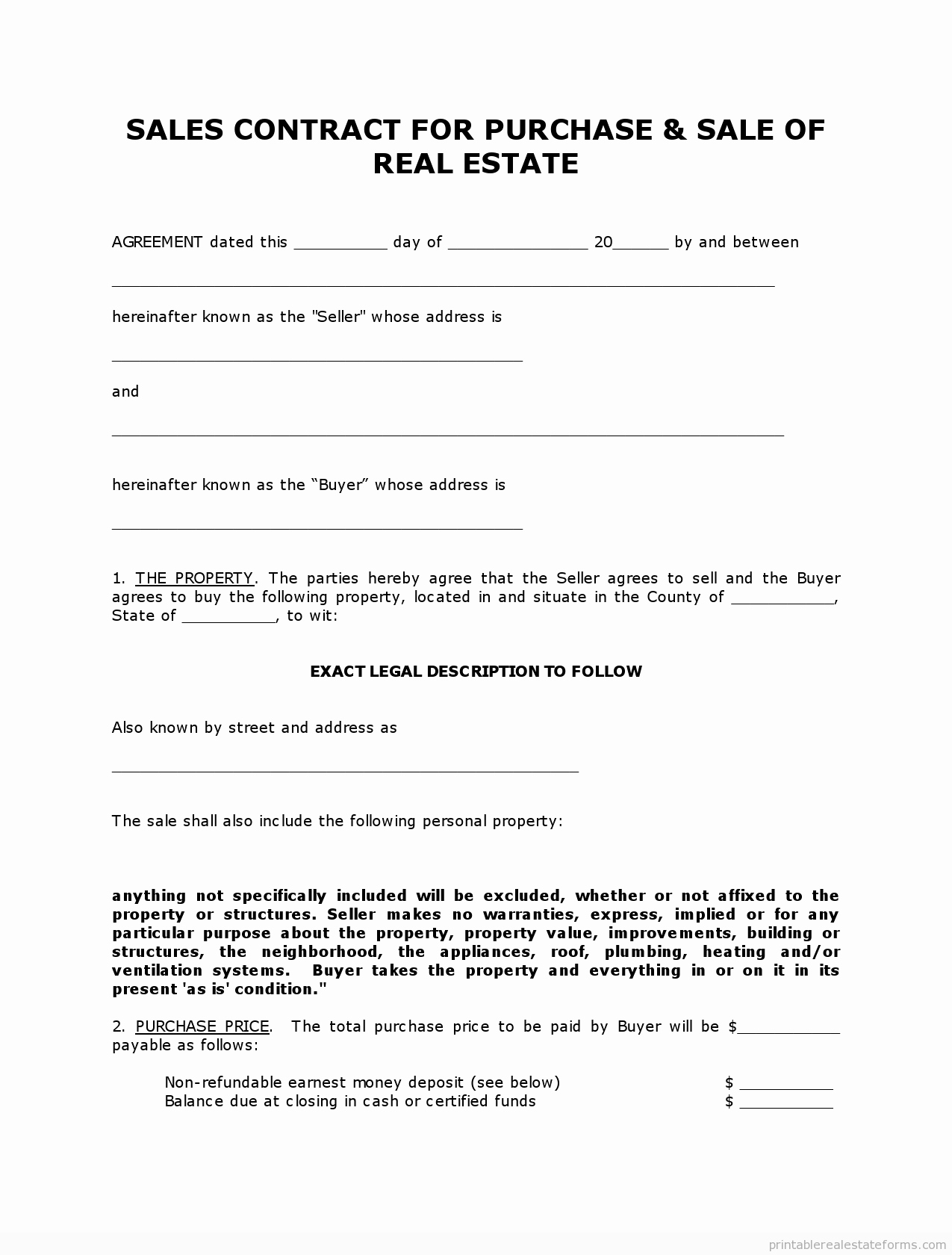 Purchase Agreement Template Word Best Of Get High Quality Printable Simple Land Contract form