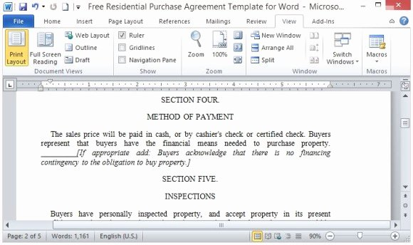 Purchase Agreement Template Word Elegant Residential Purchase Agreement Template Word Contains